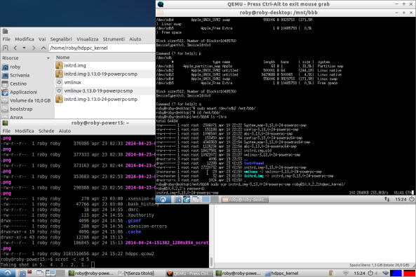 copy vmlinux and initrd from an image file of a lubuntu 14.04 LTS powerpc virtualized